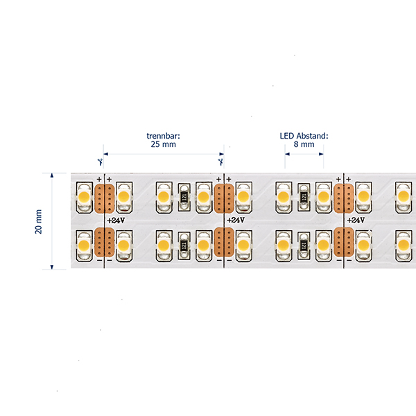 28,8W/m Spezial LED-Streifen 2700K 5M Doppel 240LED/m IP20 24V 2650lm/m RA90