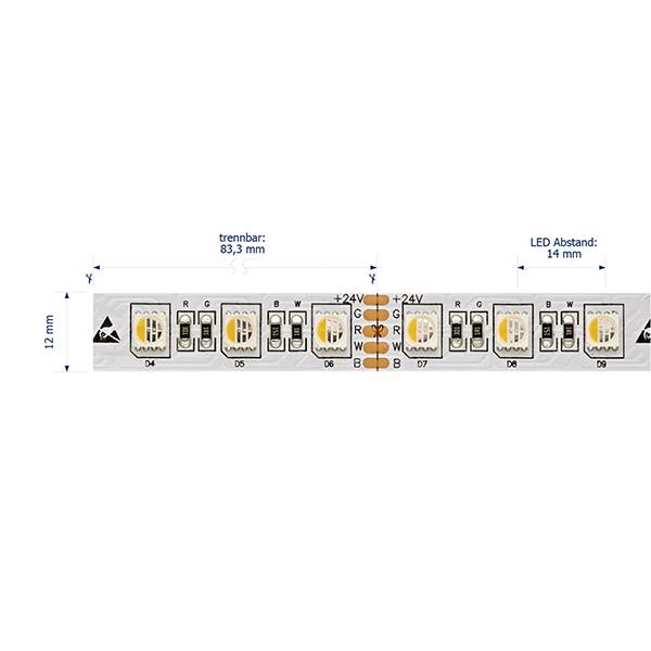 23W/m Farbige LED-Streifen RGB/2700K 5m RGB/2700K 72LED/m IP20 24V 1100lm/m RA90
