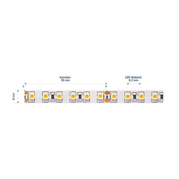 9,6W/m Pro LED-Streifen 2400K 5m 120LED/m IP20 24V 590lm/m RA90