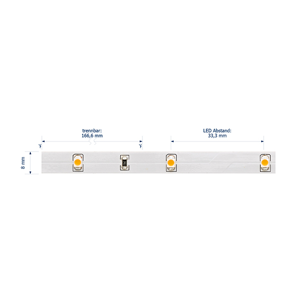 2,4W/m Pro LED-Streifen 2700K 5m 30LED/m IP20 24V 132lm/m RA90