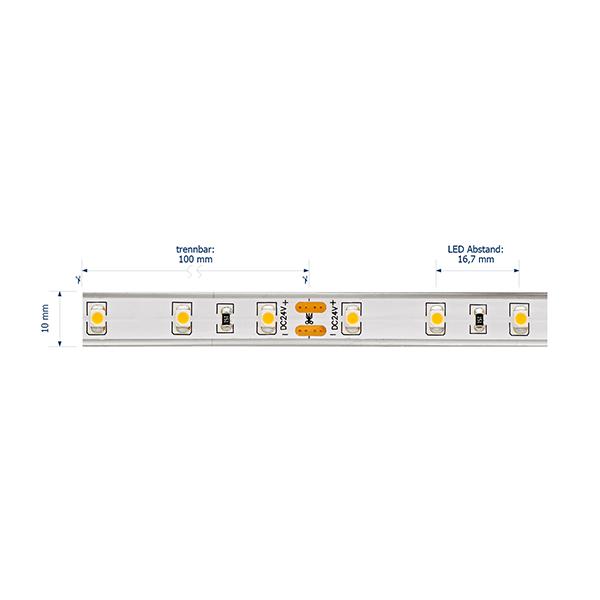4,8W/m Pro LED-Streifen 2700K 5m 60LED/m IP68 24V 231lm/m RA95