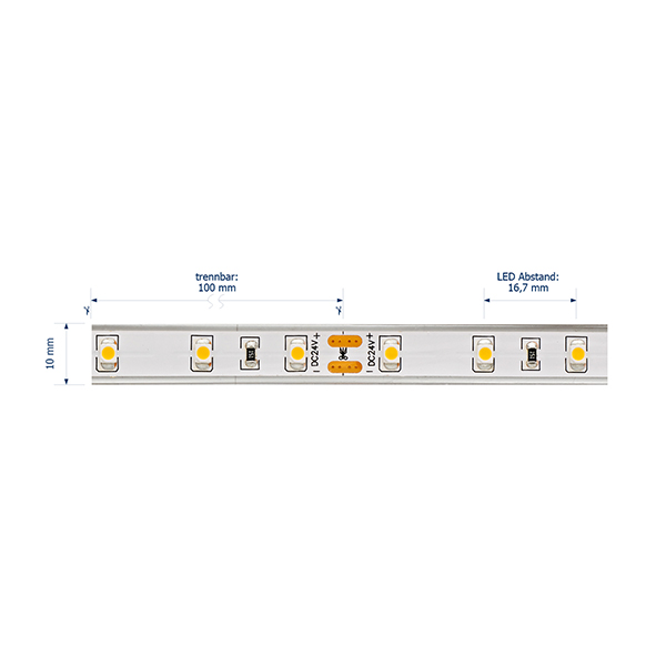 4,8W/m Pro LED-Streifen 4000K 5m 60LED/m IP68 24V 246lm/m RA95