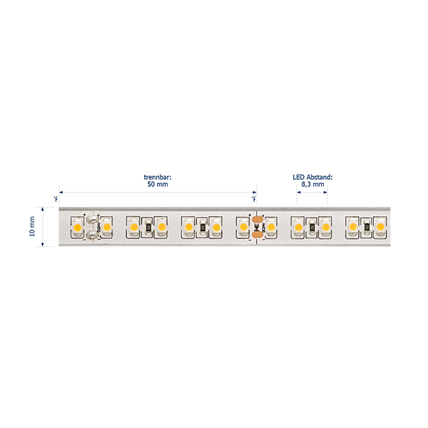 9,6W/m Pro LED-Streifen 4000K 5m 120LED/m IP68 24V 492lm/m RA95