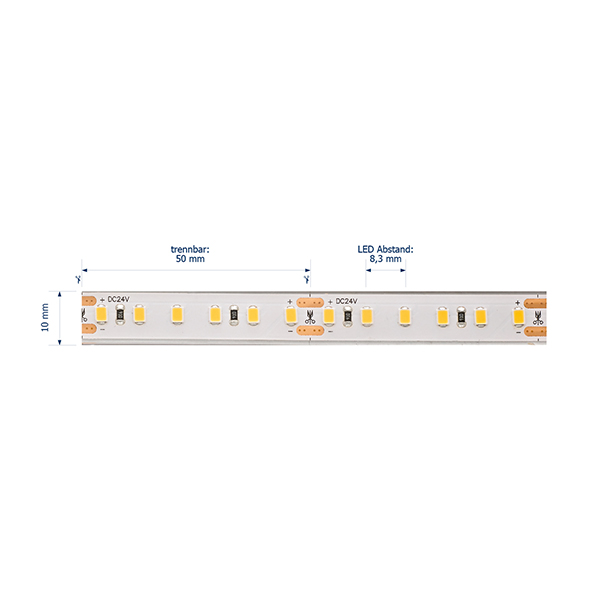 24W/m Pro LED-Streifen 2700K 5m 120LED/m IP68 24V 1353lm/m RA95