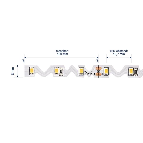 12W/m Spezial LED-Streifen 3000K 5m Seitlich-biegbar 60LED/m IP20 24V 780lm/m RA95