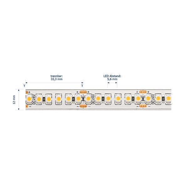 14,4W/m Pro LED-Streifen 3000K 5m 180LED/m IP68 24V 694lm/m RA95