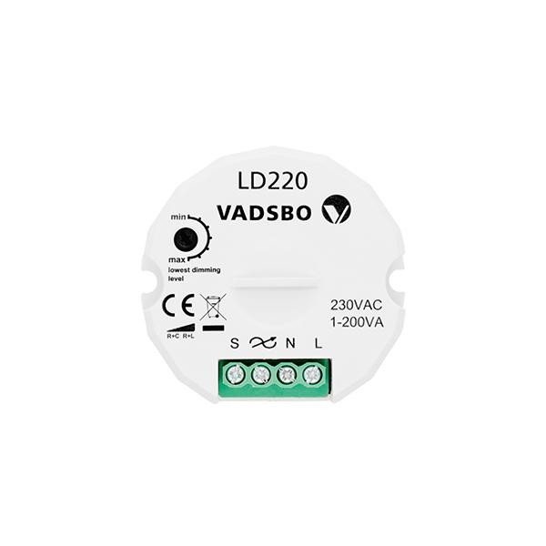 Wandmodul VADSBO Tastdimmer 200W Doseneinbau 56x56x22mm