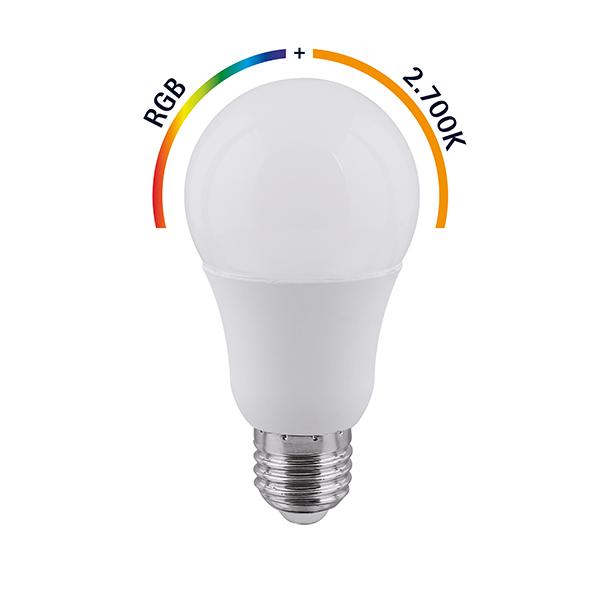 Leuchtmittel SHAIRE 9W Normale opal E27 RGBW 806lm 2700K