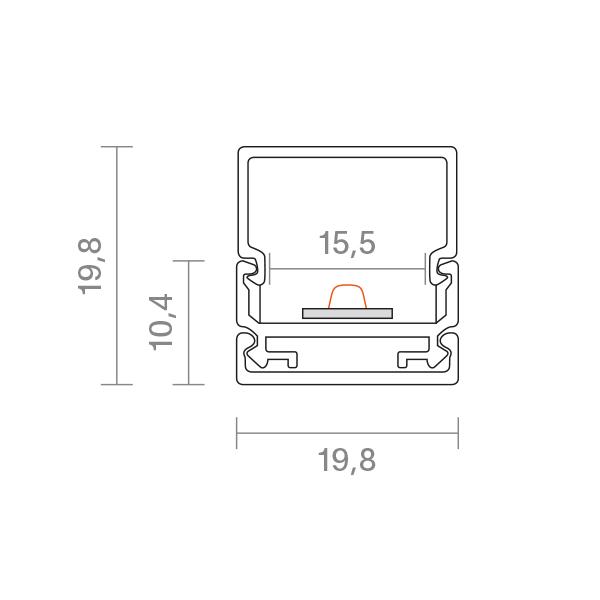 2m Aufbauprofil Montageschiene 15