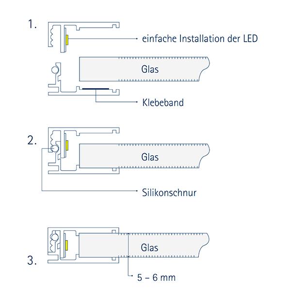 1m Einbauprofil Glasablage 8