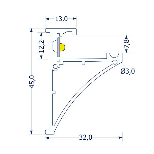 1m Aufbauprofil Glasablage 8 -Abverkaufsartikel-