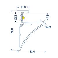Vorschau: 1m Aufbauprofil Glasablage 8 -Abverkaufsartikel-