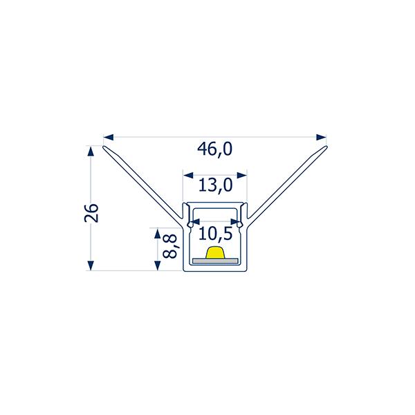 2m Profil randlos Unterputz innere Ecke 10 -Abverkaufsartikel-
