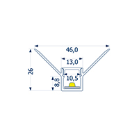 Vorschau: 2m Profil randlos Unterputz innere Ecke 10 -Abverkaufsartikel-