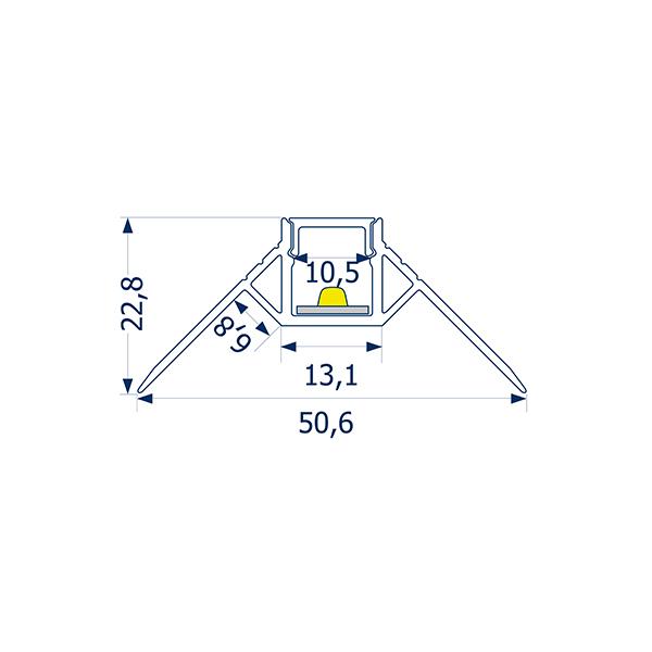 1m Profil randlos Unterputz äußere Ecke 10 -Abverkaufsartikel-