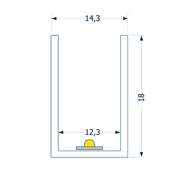 0,5m Profil 12 biegbar SIDE Streifen
