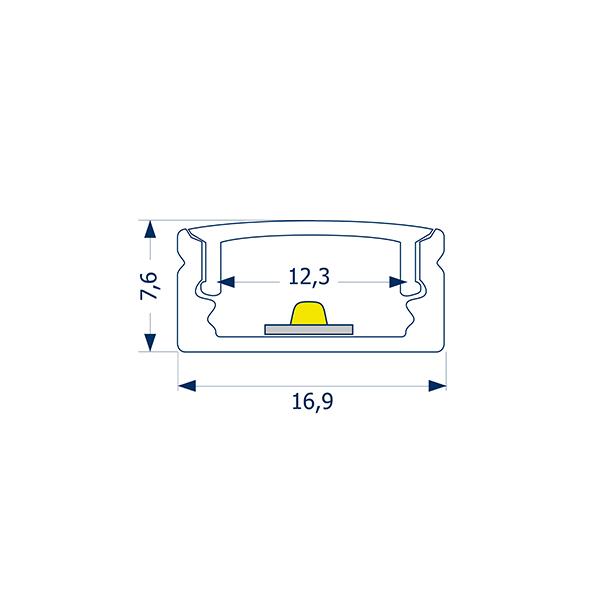 4m Aufbauprofil Flach 12